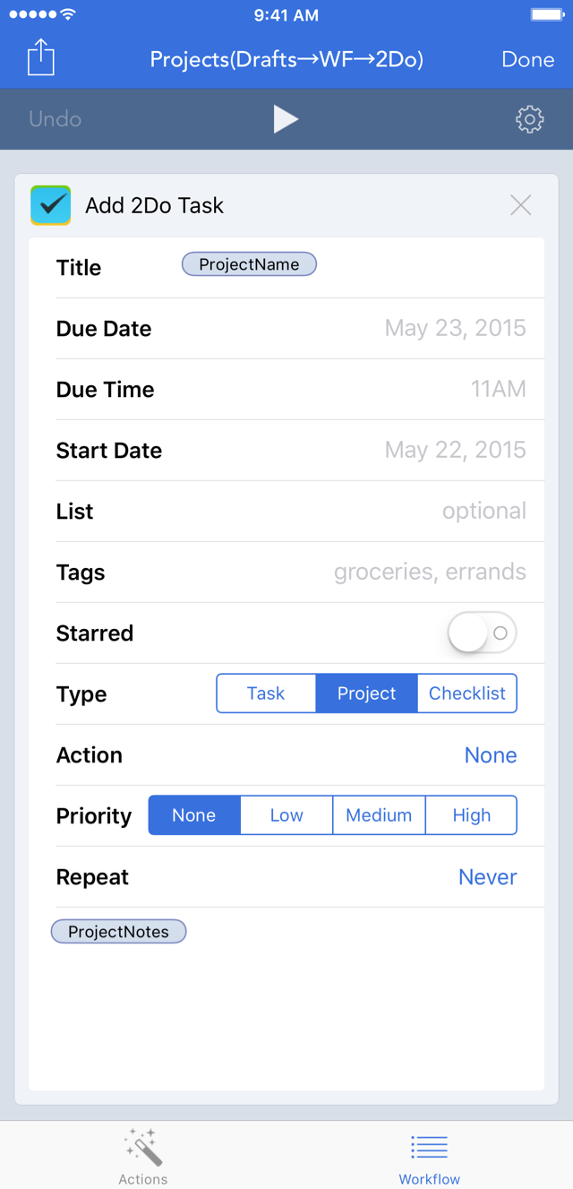 Project Workflow Action